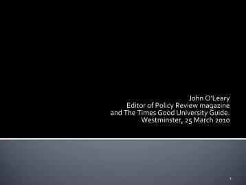 John O'Leary presentation (pdf) - Internationalising Higher Education