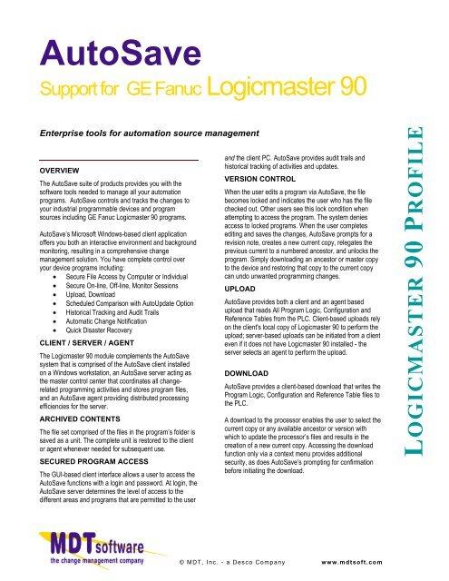 GE Fanuc Logicmaster 90 - MDT Software