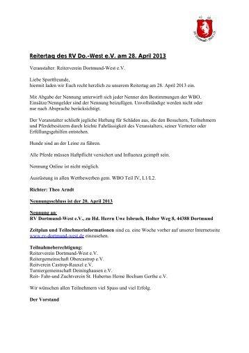 Reitertag des RV Do.-West e.V. am 28. April 2013 - KRV-Dortmund