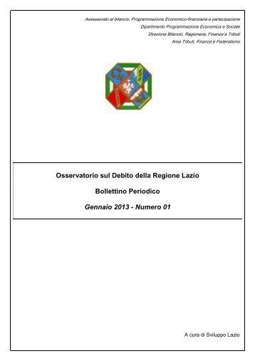 Bollettino debito Gennaio 2013 - Regione Lazio