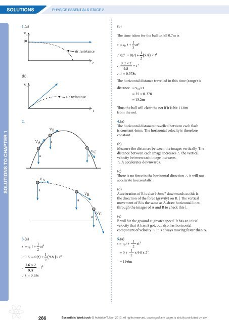 SACE2 Physics Workbook 3rd Edition Amended Solutions