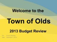 2013 Budget Presentation - Town of Olds