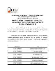 programa de assistência estudantil resultado seleção ... - UFSJ
