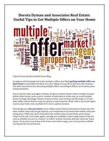 Dorota Dyman and Associates Real Estate: Useful Tips to Get Multiple Offers on Your Home