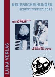 Verlagsprogramm Herbst 2013 - Laika Verlag