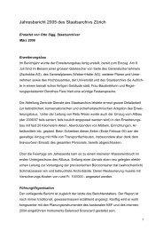 Jahresbericht 2005 des Staatsarchivs Zürich - Staatsarchiv - Kanton ...