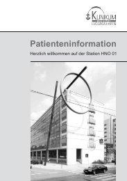 Informationsbroschüre zur HNO 01 - Klinikum der Stadt Ludwigshafen