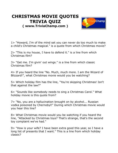 Christmas Movie Quotes Trivia Quiz Trivia Champ