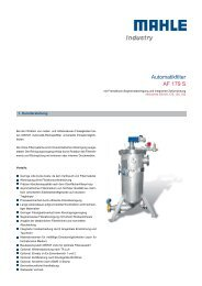 Automatikfilter AF 179 S - MAHLE Industry - Filtration