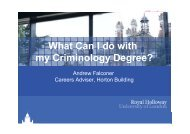 What Can I do with my Criminology Degree? - Royal Holloway ...
