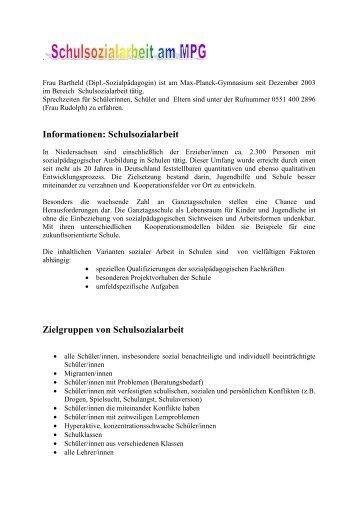 Artikel Schulsozialarbeit - Max-Planck-Gymnasium Göttingen