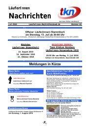 LäuferInnen Nachrichten Juli 2010 - Team Klinikum Nürnberg