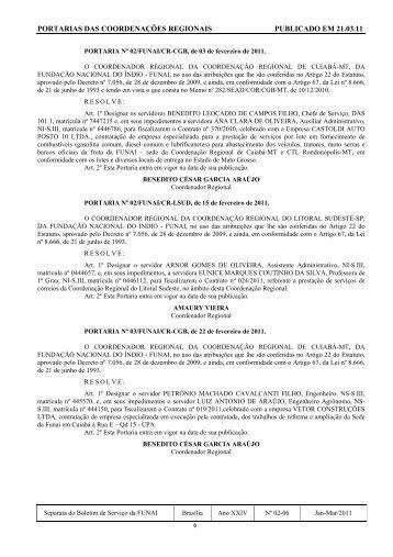 portarias das coordenações regionais publicado em 21.03.11 - Funai
