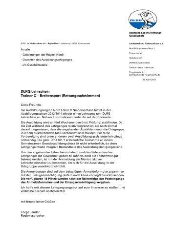 DLRG Lehrschein Trainer C – Breitensport (Rettungsschwimmen)