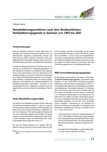 Rehabilitierungsverfahren nach dem Strafrechtlichen ... - Statistik