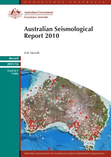 Australian seismology report 2010 - PIRSA - SA.Gov.au