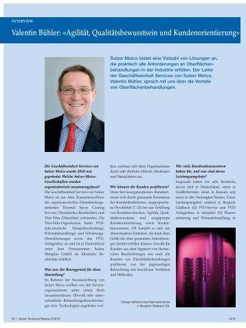Valentin Bühler: «agilität, Qualitätsbewusstsein und - Sulzer