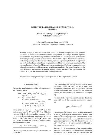 ROBUST LINEAR PROGRAMMING AND OPTIMAL CONTROL ...