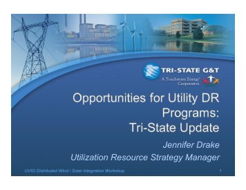 Opportunities for Utility Demand Response - Utility Variable ...