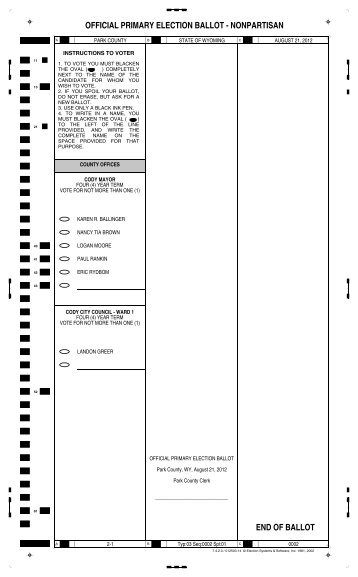 official primary election ballot - Park County Government