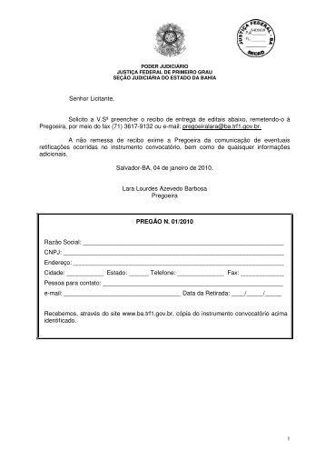 Edital Pregão presencial 01/2010 - Justiça Federal