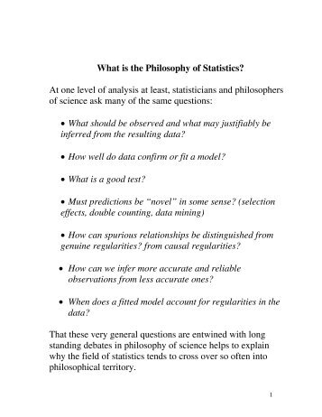 What is the Philosophy of Statistics? - Department of Philosophy