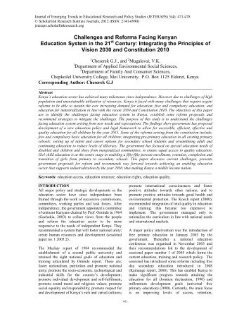 Challenges and Reforms Facing Kenyan Education System in the ...