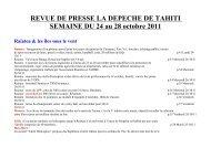 REVUE DE PRESSE LA DEPECHE DE TAHITI SEMAINE DU 24 au ...
