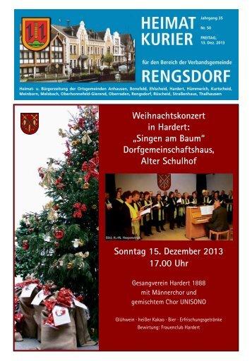 Dorfgemeinschaftshaus, Alter Schulhof Sonntag 15. Dezember 2013 ...