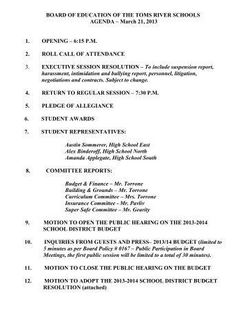 Agenda - Toms River Regional Schools