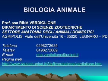 Biologia animale 1 - Dipartimento di Scienze Animali
