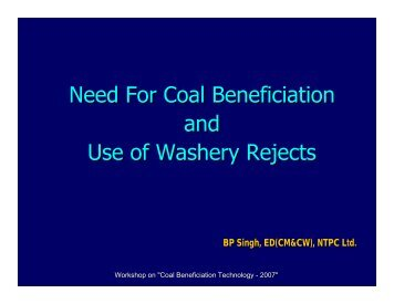 Need For Coal Beneficiation and Use of Washery Rejects
