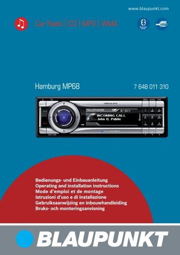 Hamburg MP68 Car Radio CD MP3 WMA - Blaupunkt