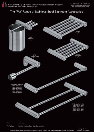 Range of Stainless Steel Bathroom Accessories - Bellevue Imports