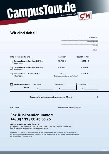 Buchungsformular - CampusTour.de