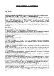 newsletter cai 16 agosto 2010 cai news - Club Alpino Italiano