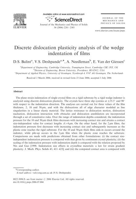 Discrete dislocation plasticity analysis of the wedge indentation of films