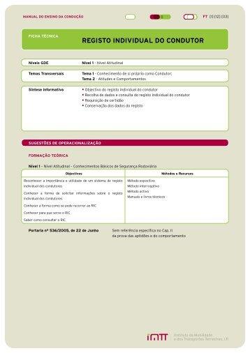 Registo Individual do Condutor - Imtt