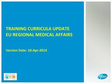 TRAINING CURRICULA UPDATE EU REGIONAL MEDICAL AFFAIRS