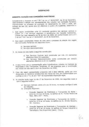 Despacho relativo à eleição das Comissões Paritárias - IMTT