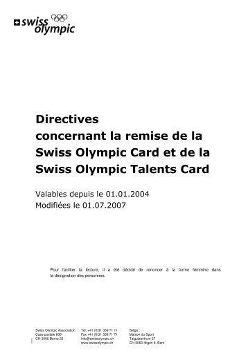Directives concernant la remise de la Swiss Olympic Card et de la ...