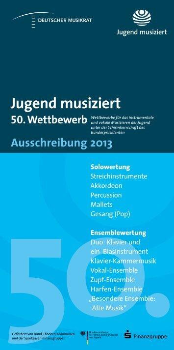 """Auschreibung für """"Jugend musiziert 2013"""""""
