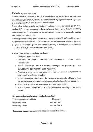 Komentarz technik papiernictwa 311[27]-01 Czerwiec 2009 Strona 1 ...
