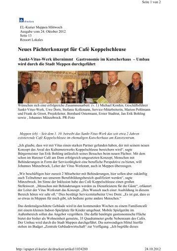 Neues Pächterkonzept für Café Koppelschleuse - Vitus