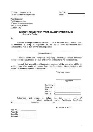 tc form 3: sec. 401 (producer) - Philippine Tariff Commission