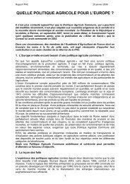 Quelle politique agricole pour l'Europe - Groupe de Bruges