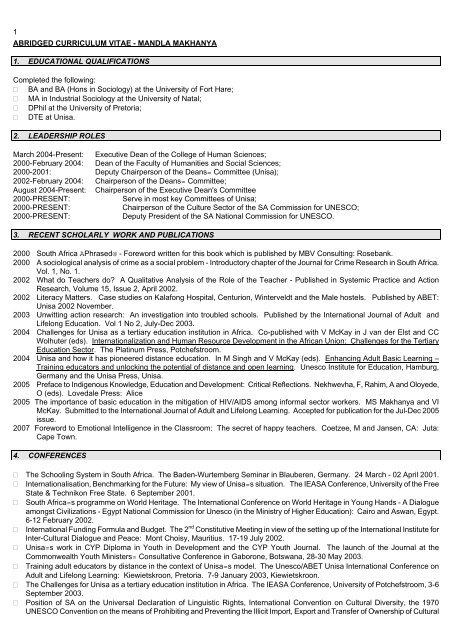 abridged curriculum vitae - mandla stanley makhanya