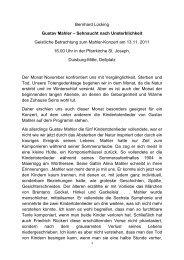 Bernhard Lücking Gustav Mahler – Sehnsucht nach Unsterblichkeit ...