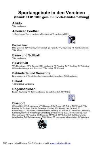 Sportangebote in den Vereinen - Kreis Landsberg  am Lech im BLSV