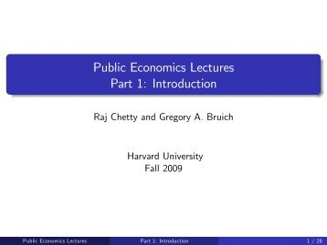 Public Economics Lectures Part 1: Introduction